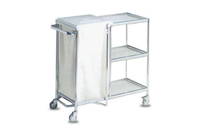 Clean linen trolley / dirty linen / with shelf / 1-bag A.A.MEDICAL