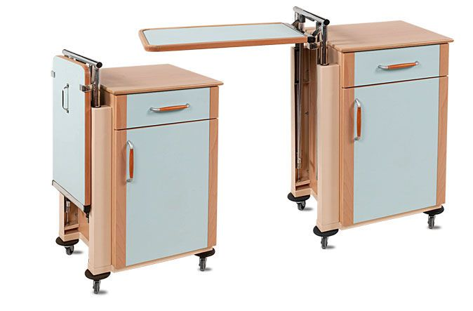 Bedside table with over-bed tray / on casters External E2A Lux A.A.MEDICAL