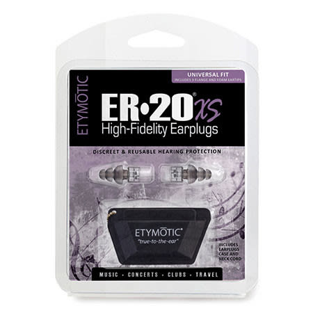 ER20xs universal fit earplugs front packaging