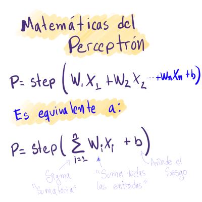 Ecuación de un perceptrón