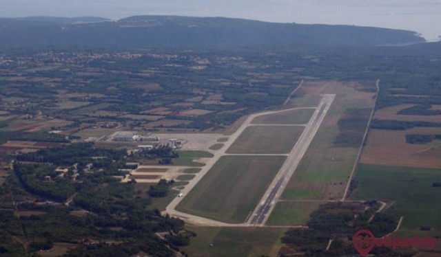 Pula Airport by helicopter
