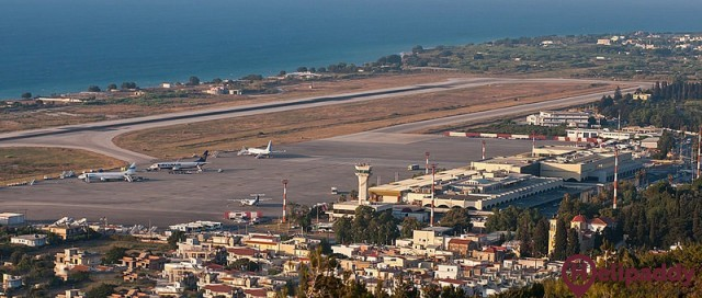 Rhodes International Airport by helicopter