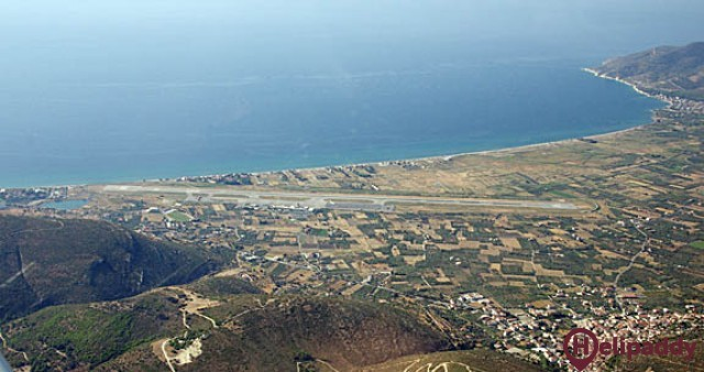 Samos International Airport by helicopter