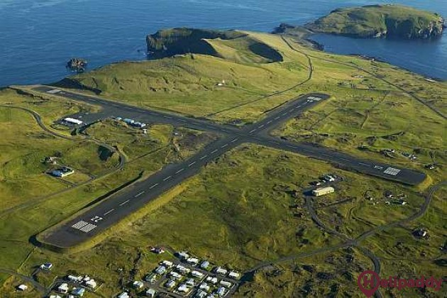 Vestmannaeyjar Airport by helicopter