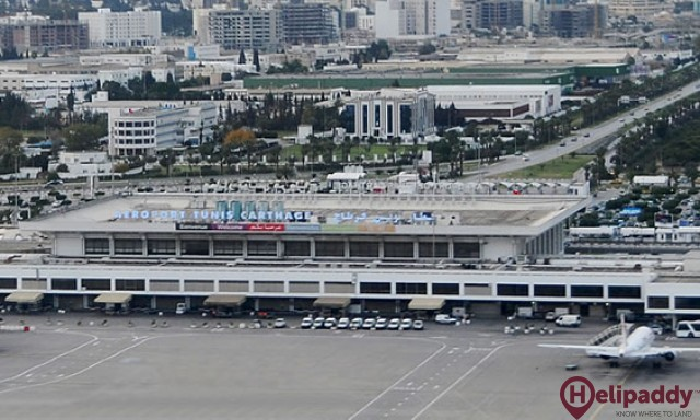 Tunis–Carthage International Airport by helicopter