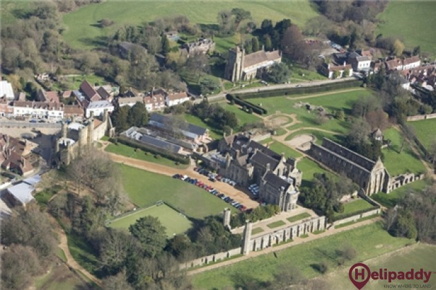 Battle Abbey by helicopter