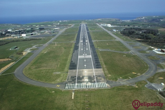 Newquay Airport by helicopter