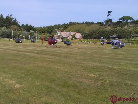 Tresco Heliport by helicopter