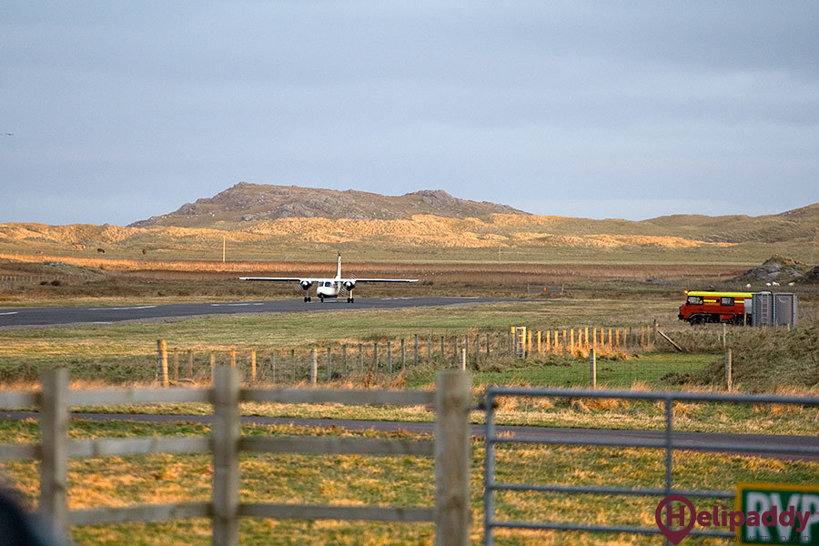 Coll Airfield by helicopter