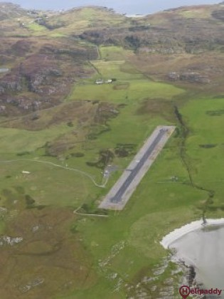 Colonsay Airfield by helicopter