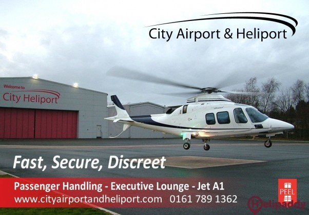 Manchester Heliport (Barton) by helicopter