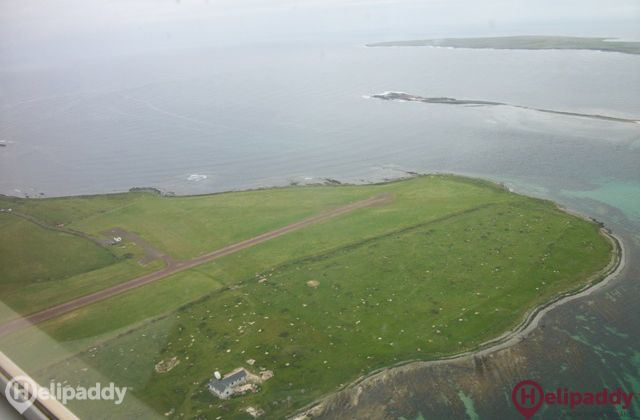 Papa Westray by helicopter