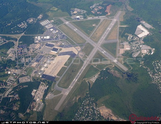 Laurence Hanscom Field Airport by helicopter