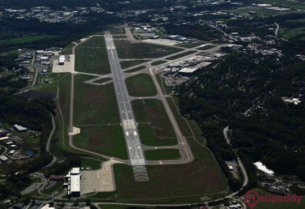 Burlington International Airport by helicopter