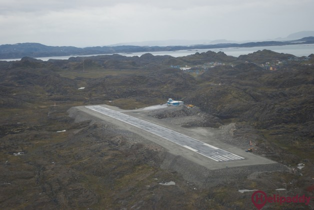 Paamiut Airport by helicopter