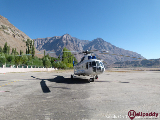 Dushanbe Helipad by helicopter
