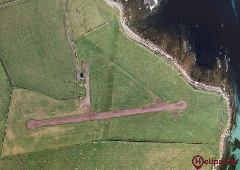 Westray Airfield by helicopter