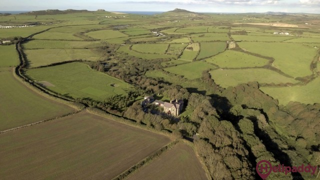 Penrhiw Priory by helicopter