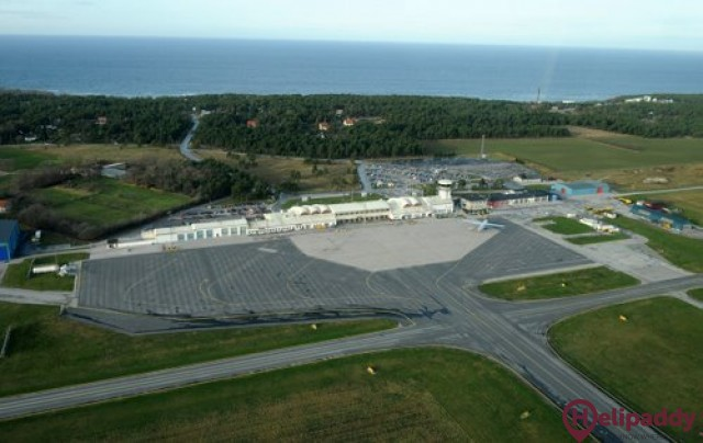 Visby Airport by helicopter