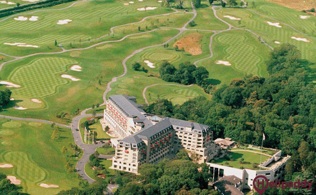 Celtic Manor by helicopter