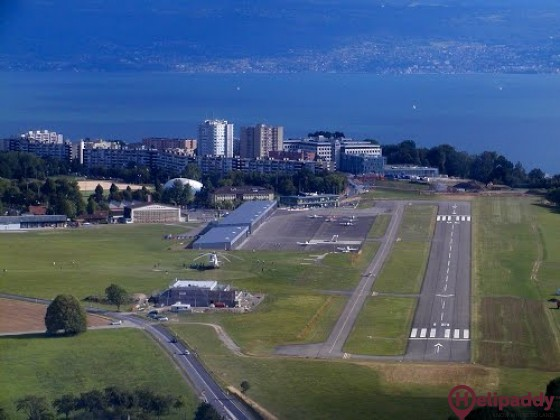 Lausanne Airport by helicopter