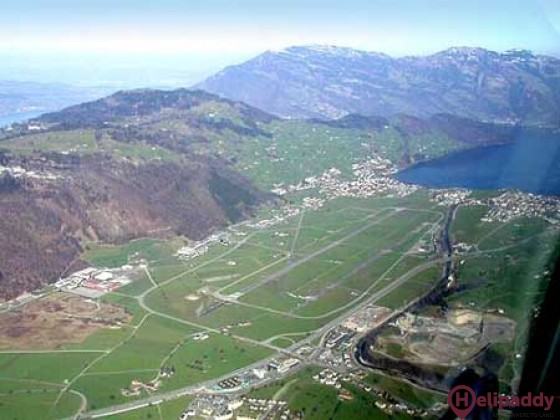 Buochs Airport by helicopter