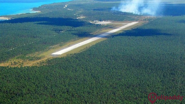 Treasure Cay Airport by helicopter