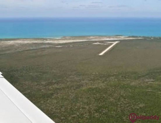 New Bight Airport by helicopter