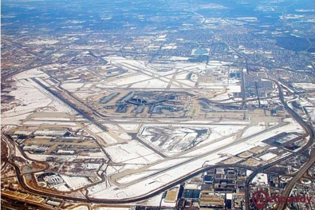 O'Hare International Airport by helicopter