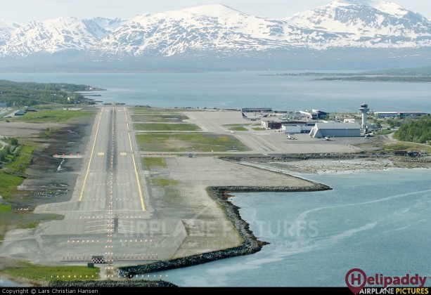 Tromso airport by helicopter