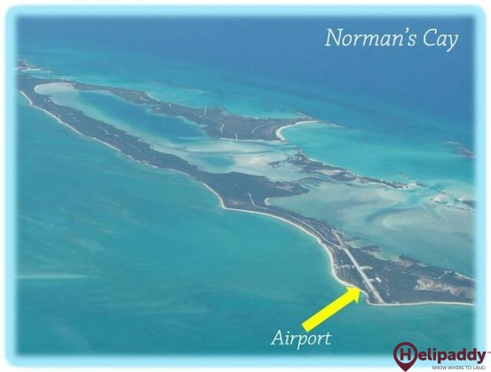 Norman's Cay Airport by helicopter