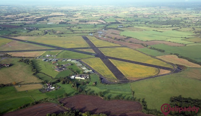 Sleap Airfield by helicopter