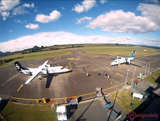 Taupo Airport by helicopter