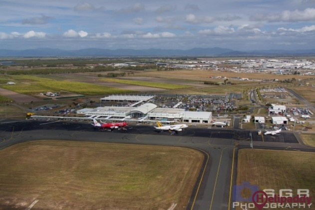 Mackay Airport by helicopter