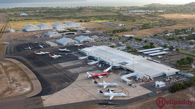 Townsville Airport by helicopter