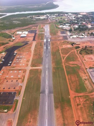 Broome International Airport by helicopter