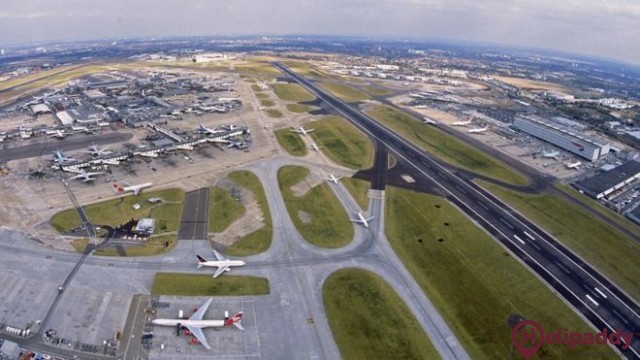 Heathrow Airport by helicopter