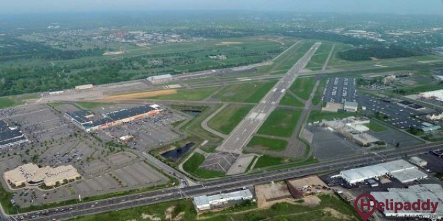 Republic Airport by helicopter