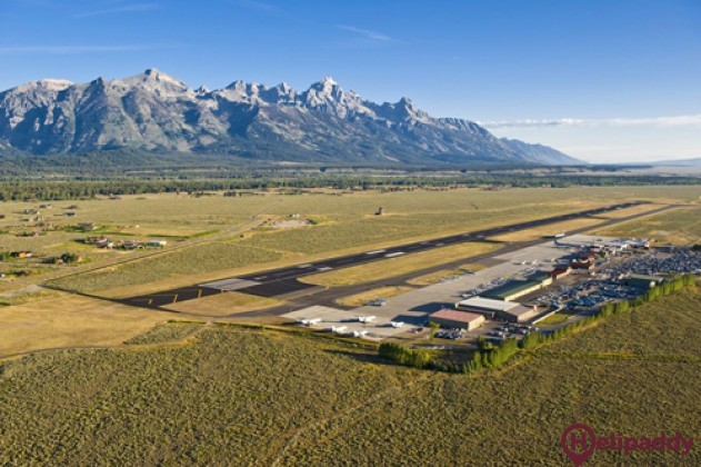 Jackson Hole Airport by helicopter
