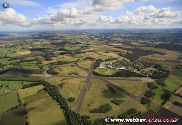 Ouston Airfield by helicopter