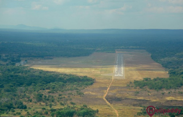 Mfuwe International Airport by helicopter