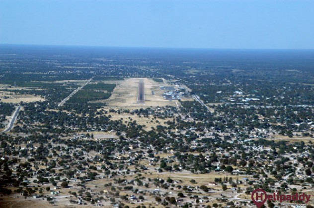 Maun Airport by helicopter