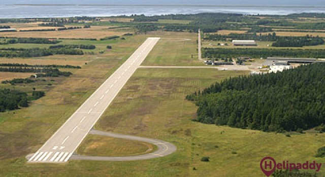 Stauning Airport by helicopter