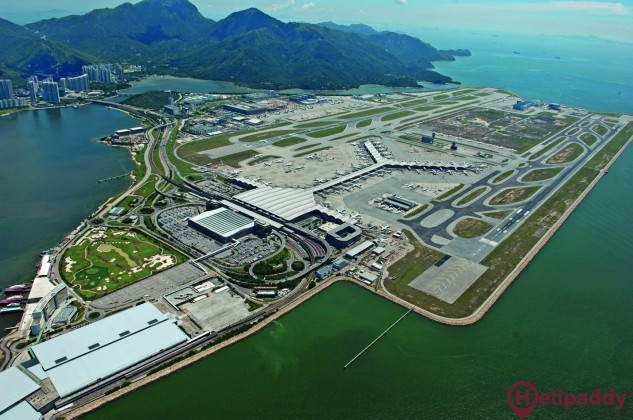 Chek Lap Kok Hong Kong International Air by helicopter