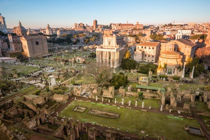 Vista do Coliseu e Fórum do Campidoglio