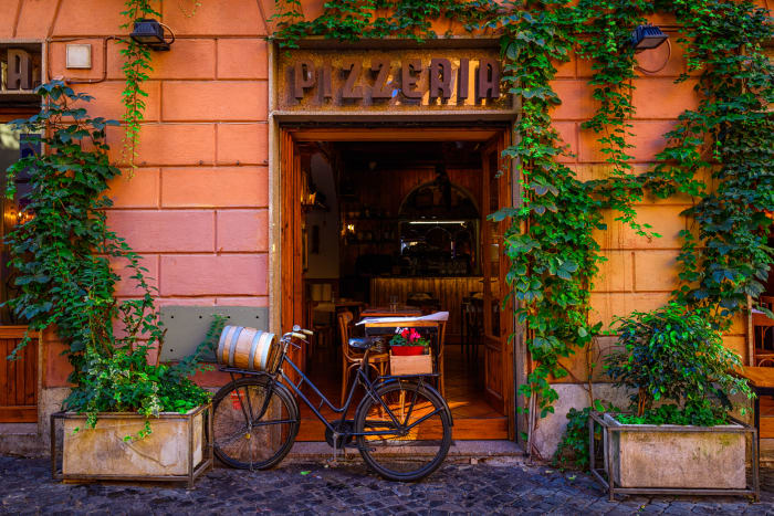 Típica pizzaria no Trastevere