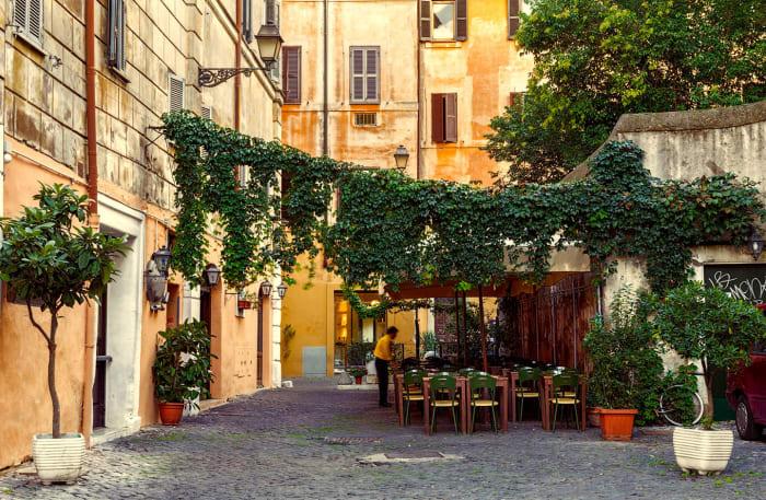 Terrasse d'un restaurant à Trastevere