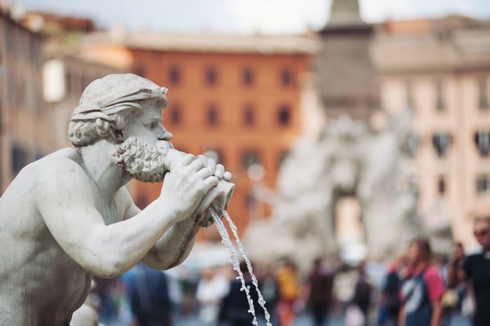 Una de las fuentes de Piazza Navona