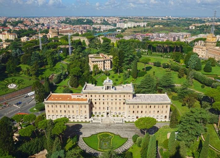 Vista aérea del Jardín del Vaticano