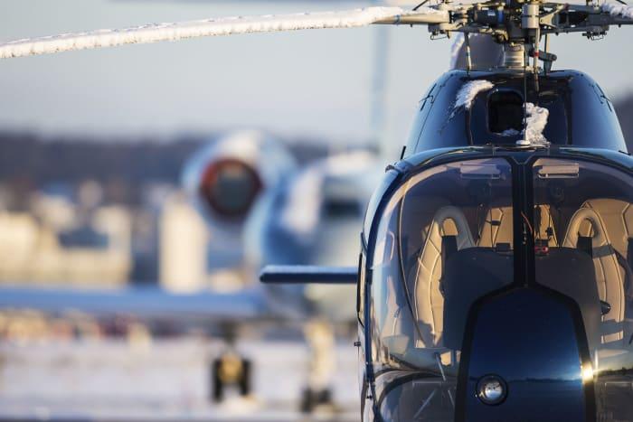 Helicóptero en un día de invierno